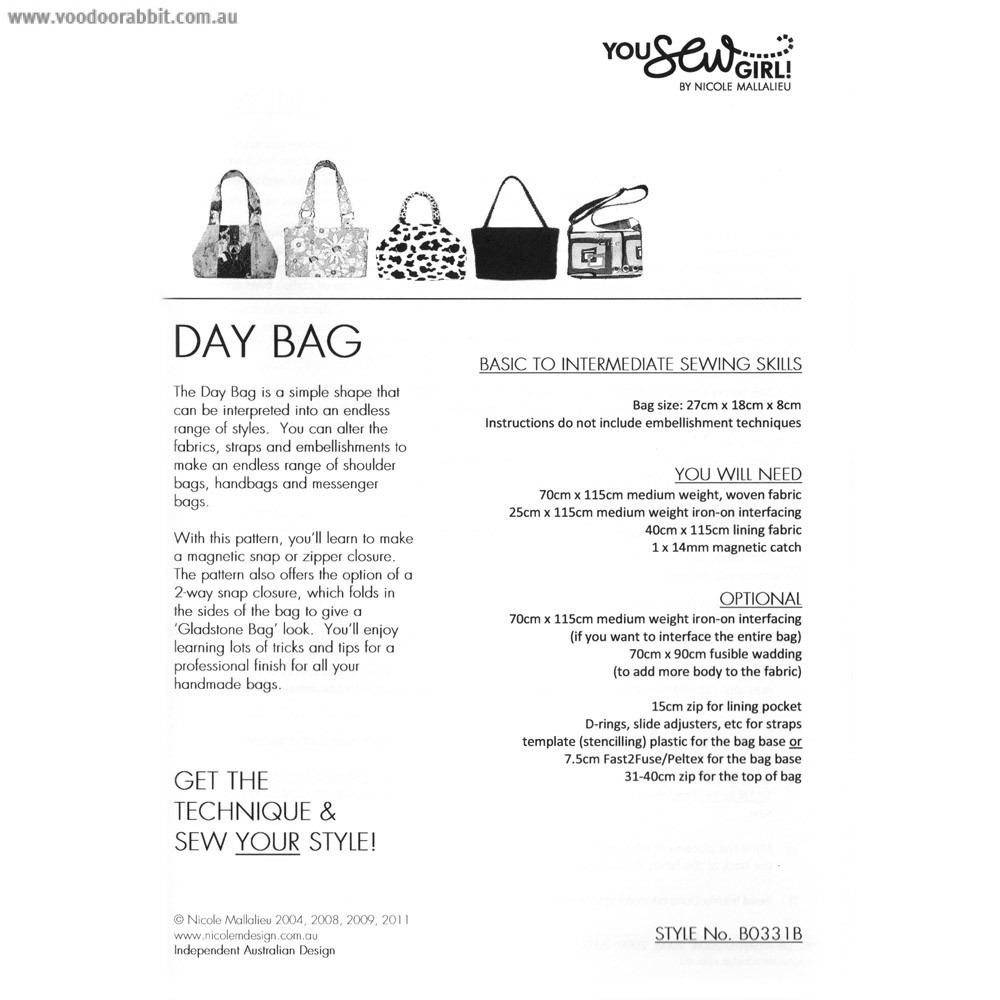 Day Bag Pattern by You Sew Girl | Alternative cool funky online ...
