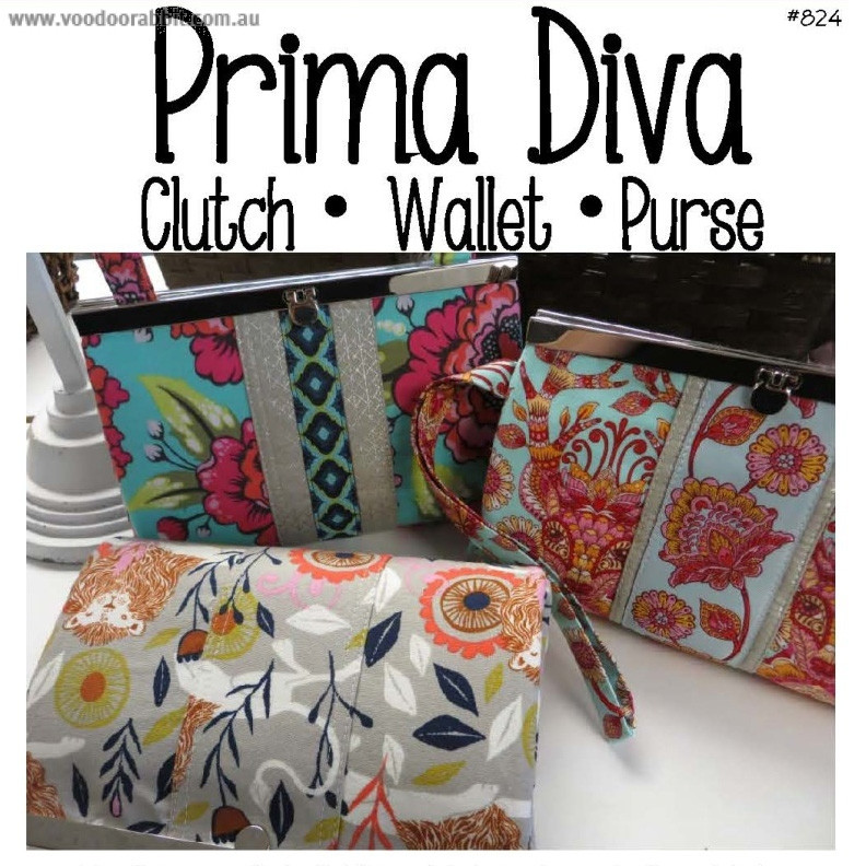 Prima Diva Clutch Wallet Sewing Patterns by Sew Many Creations ...