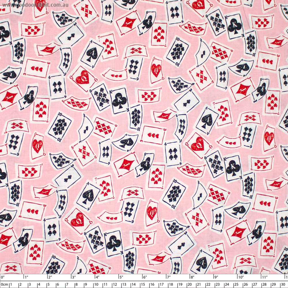 Wonderland Playing Cards Pink by Blend Fabric