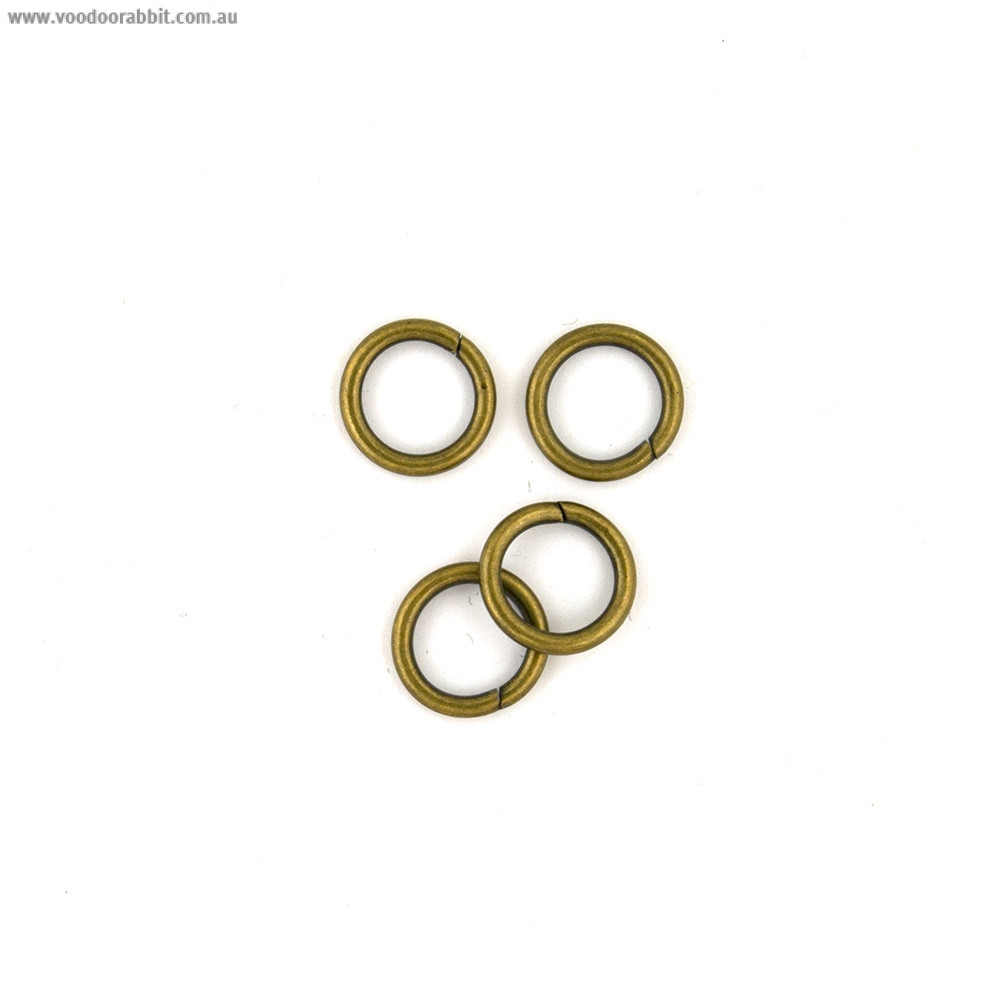 "Voodoo Bag Hardware Wire O-Ring 12mm (1/2"") Antique Brass - 4pk"