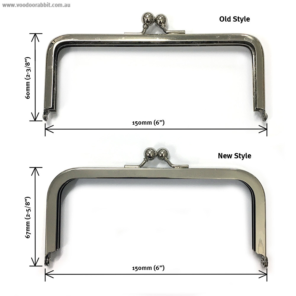 """Voodoo Bag Hardware Purse Frame 150mm (6"""") Silver (new style)"""