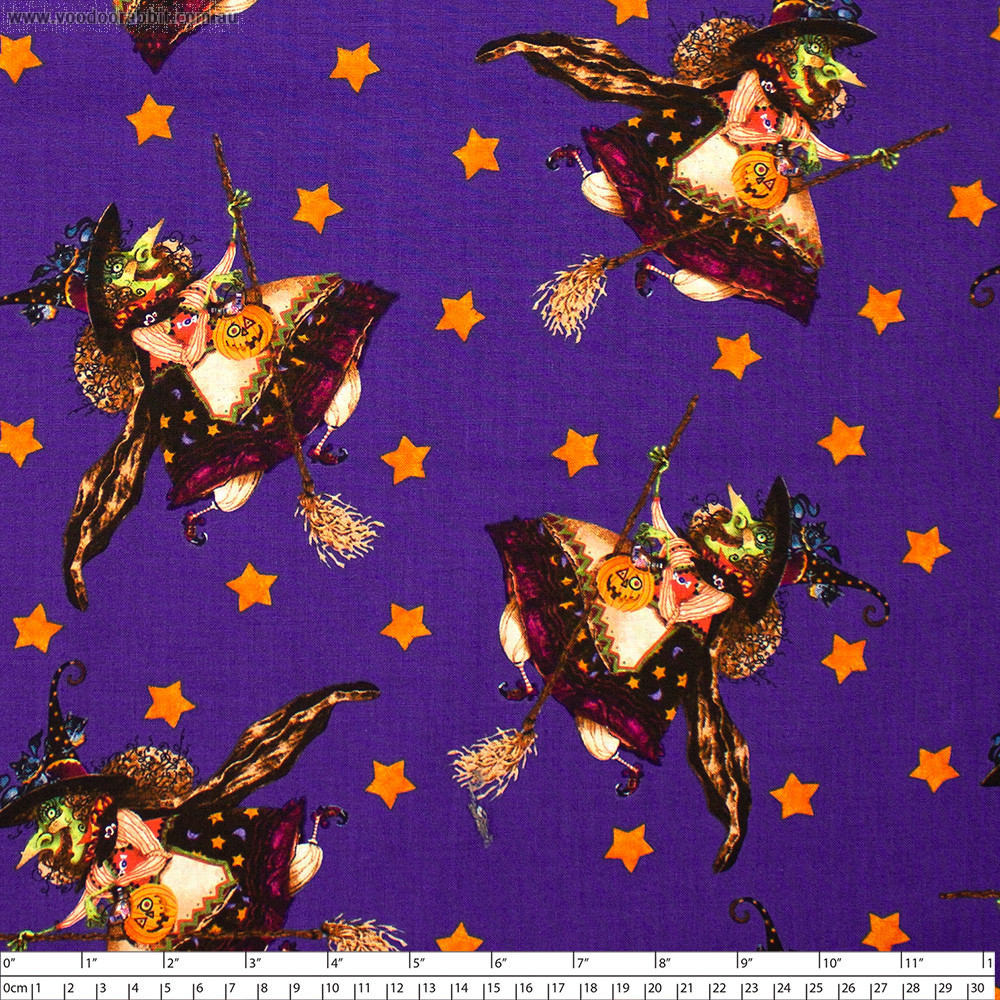 Witchful Thinking Flying Witch Allover Purple by Blank Quilting