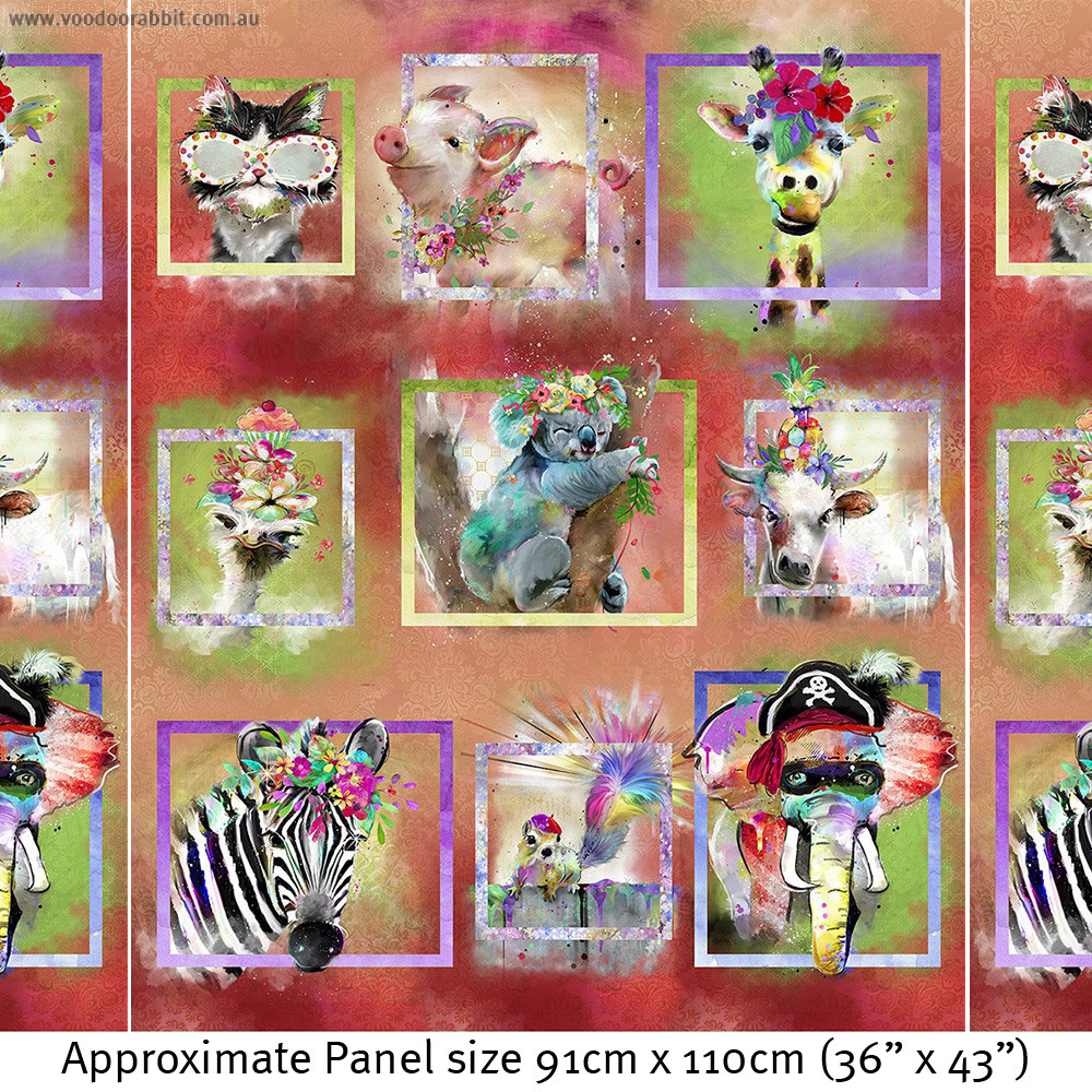 "Party Animals 36"" (91cm) Panel by 3 Wishes Fabric"