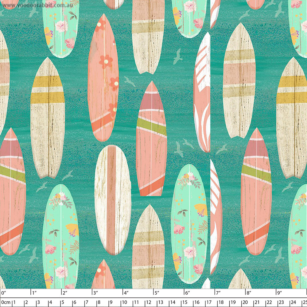 Beach Travel Surf Boards Turquoise by 3 Wishes Fabric