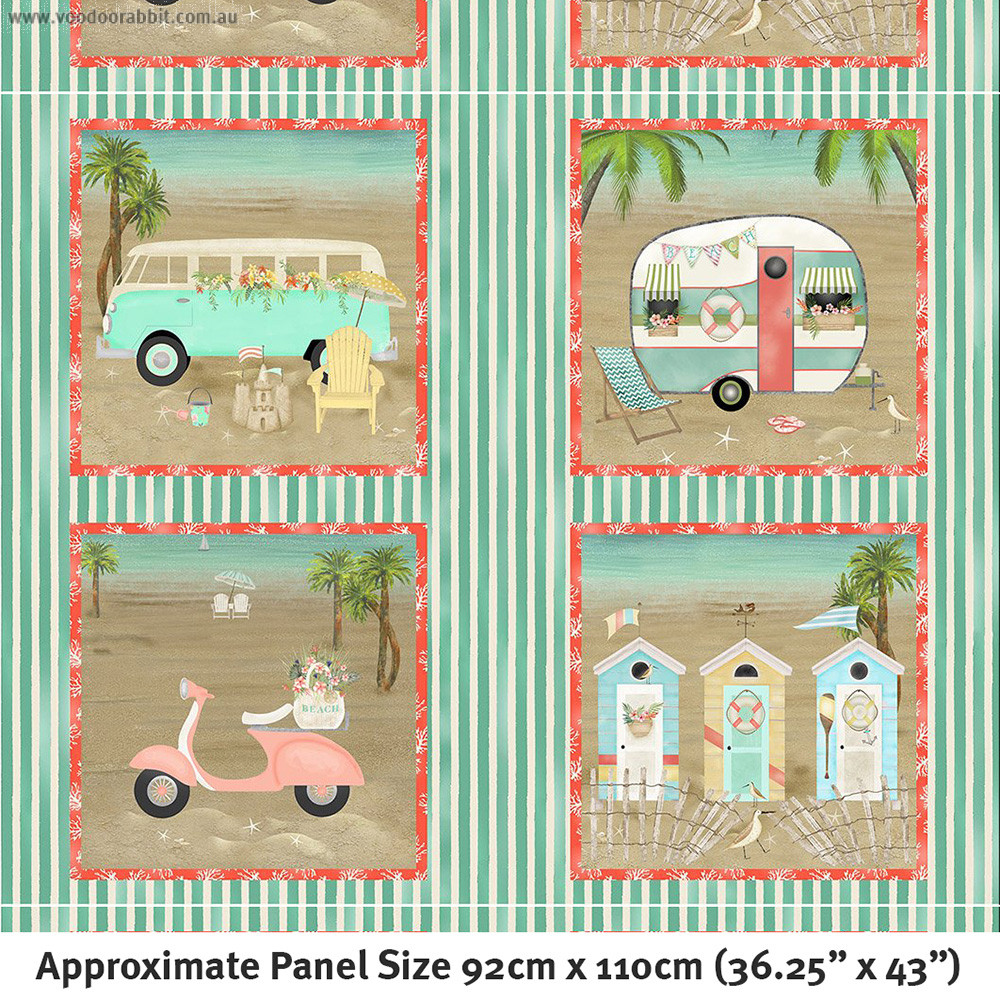 "Beach Travel 36.25"" (92cm) Panel Multi by 3 Wishes Fabric"