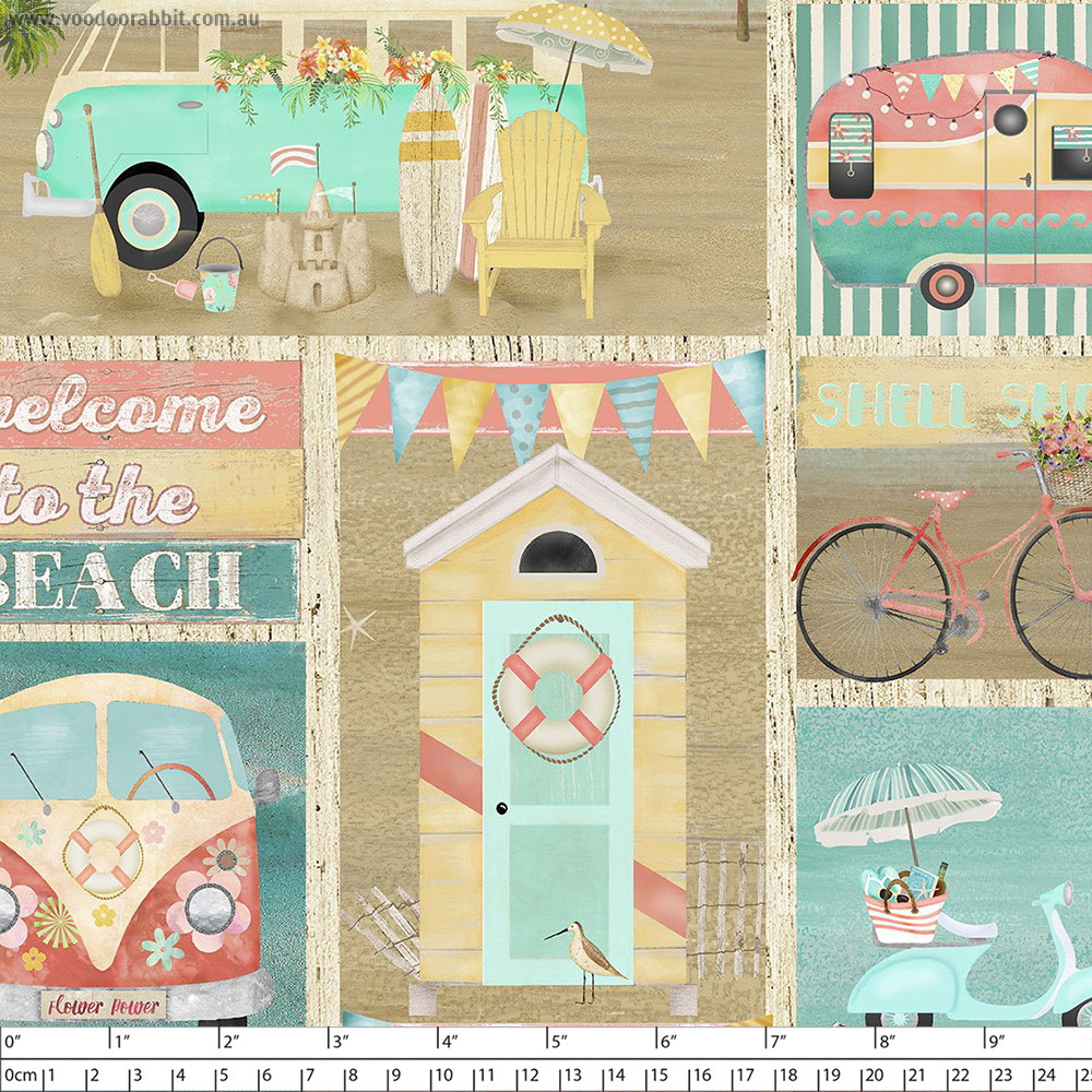 Beach Travel Patch Multi by 3 Wishes Fabric