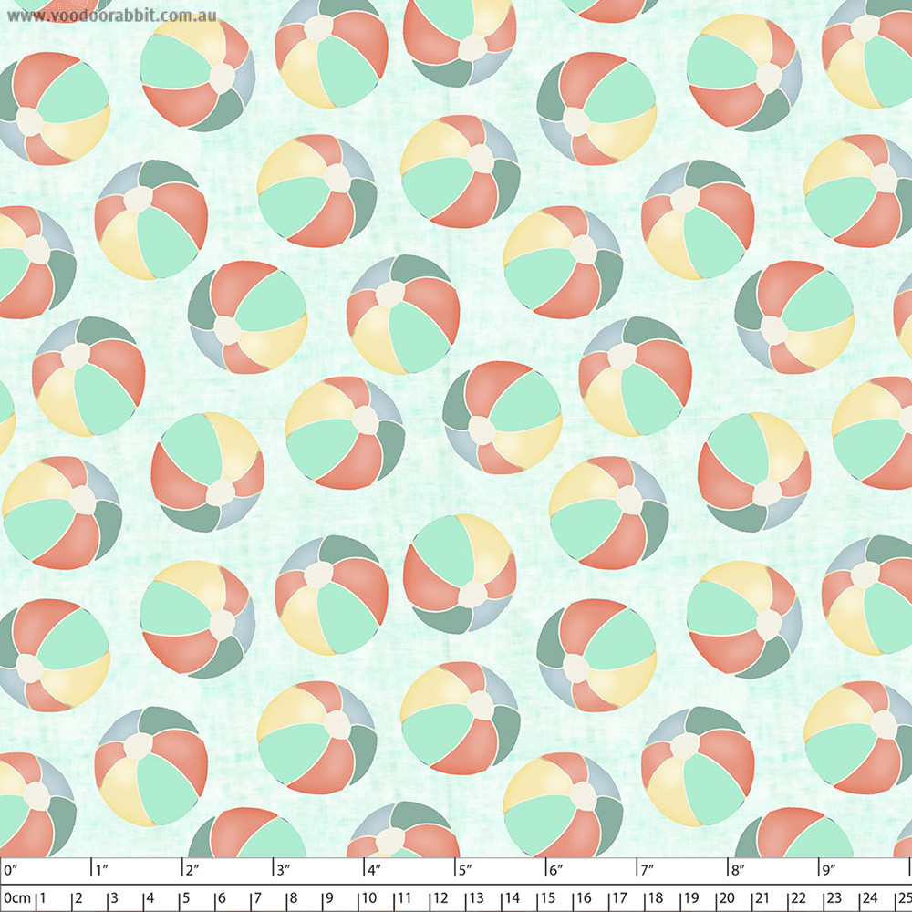 Beach Travel Beach Balls Turquoise by 3 Wishes Fabric