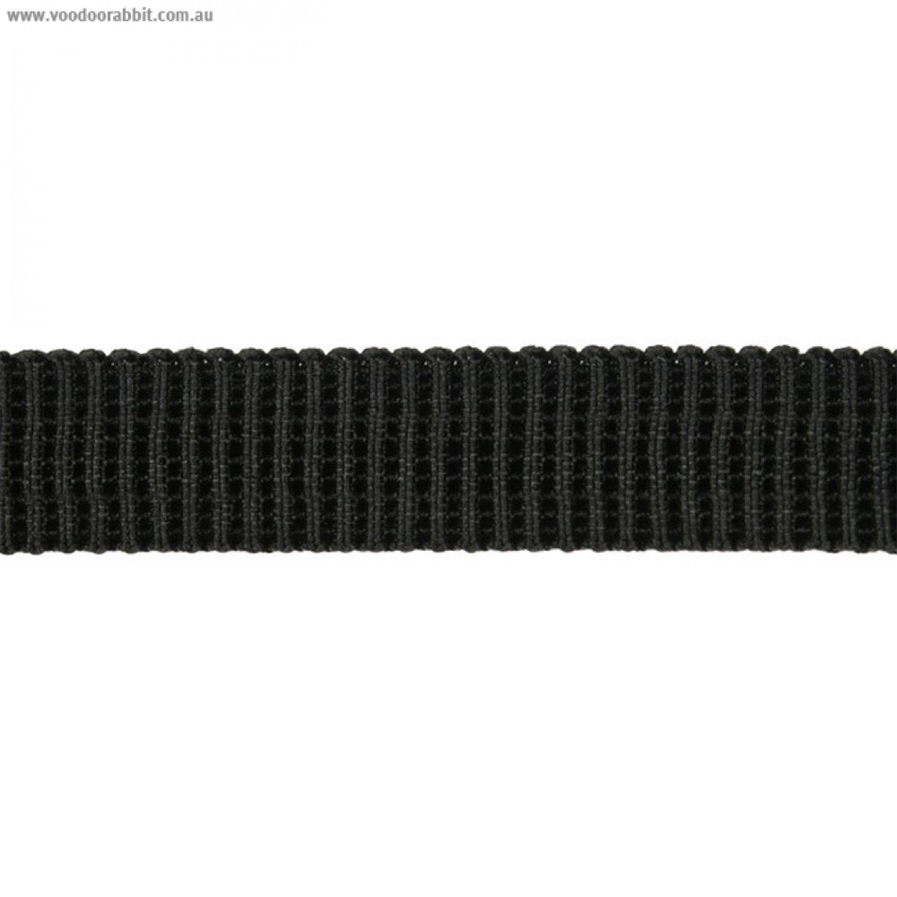 "Birch Creative Ribbed Non Roll Elastic 20mm (3/4"") Wide Black"