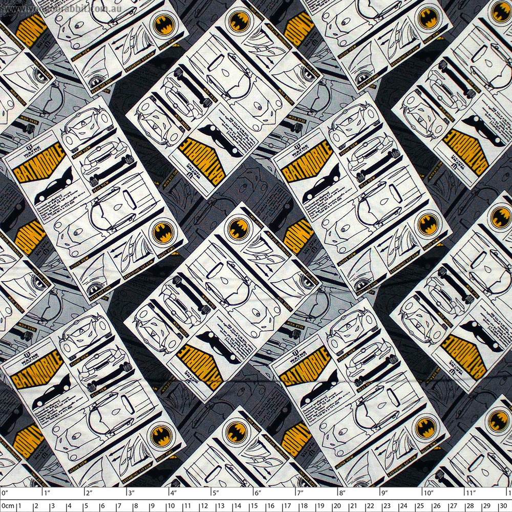 Batman 80 Anniversary Collection Batmobile Grey by Camelot Fabrics