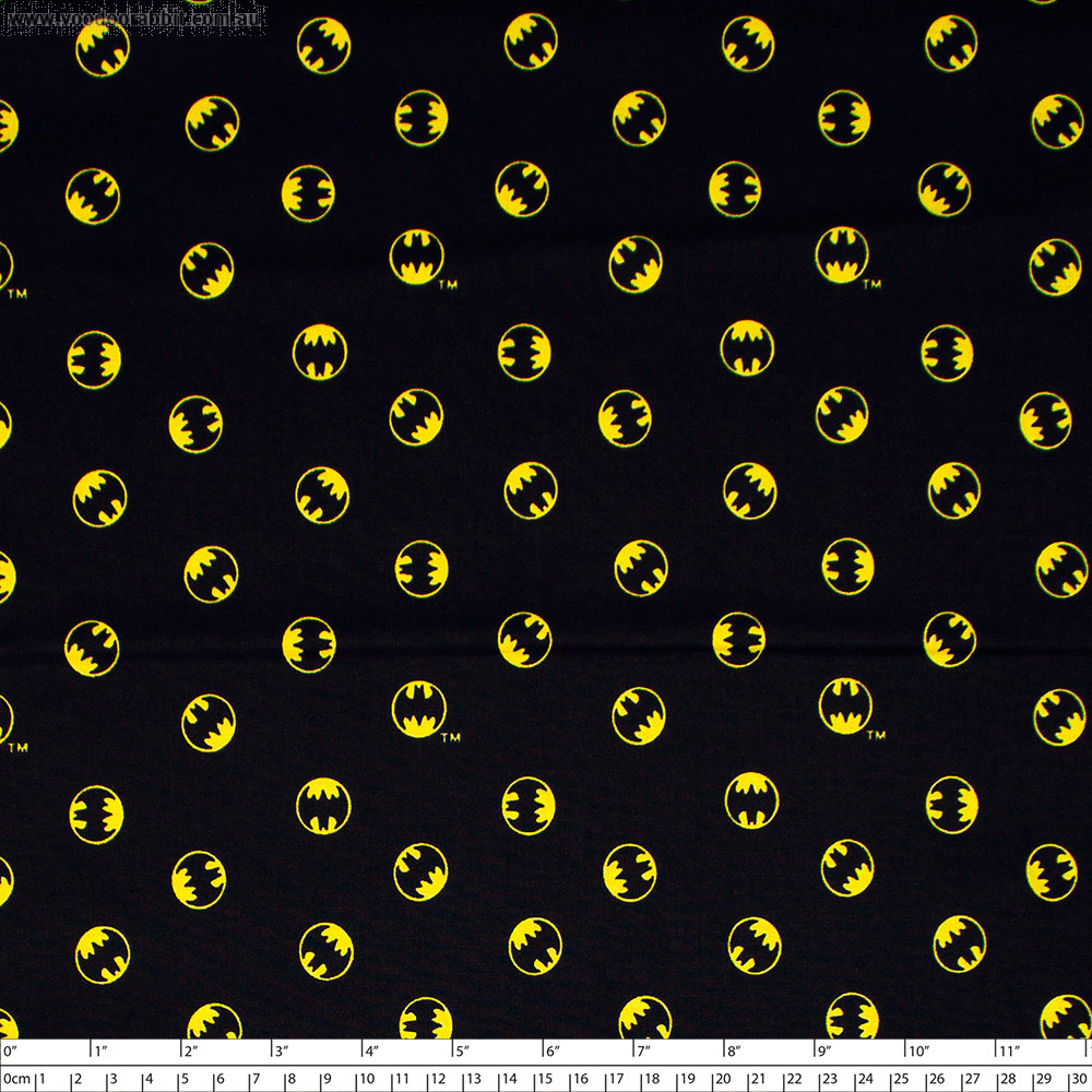 Batman 80 Anniversary Collection Batman Logo Black by Camelot Fabrics
