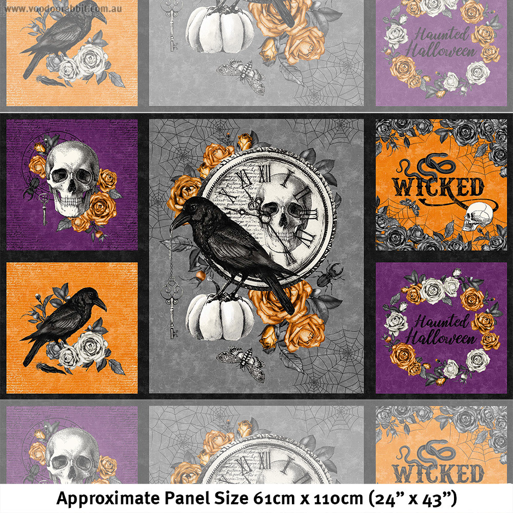 """Wicked Crow and Skull 24"""" Fabric Panel Multi by Northcott"""