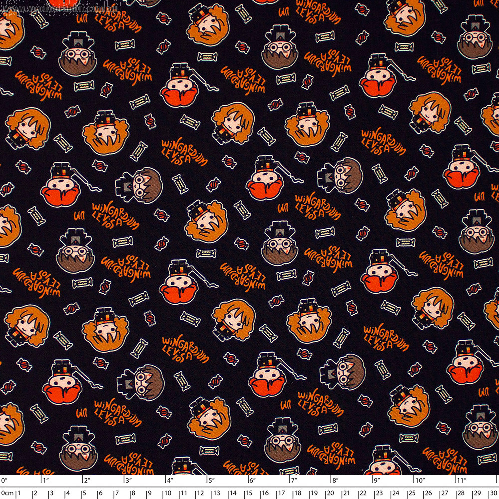Harry Potter Halloween Kawaii Hogwarts Black by Camelot Fabrics
