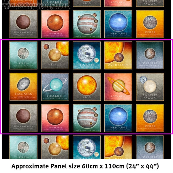"""Intergalactic Planets Picture Patches 60cm (24"""") Fabric Panel Black by Quilting Treasures"""