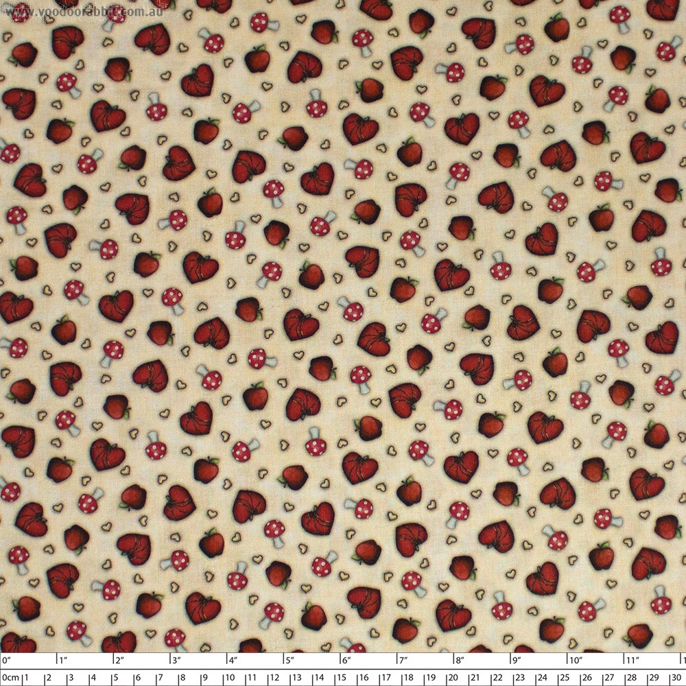 Santoro Gorjuss My Story Heart & Mushroom Toss Light Tan by Quilting Treasures