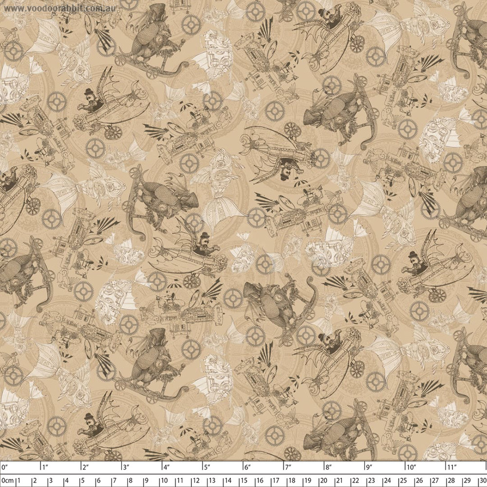 Fantasy & Fiction Steampunk Toile Tan by Quilting Treasures