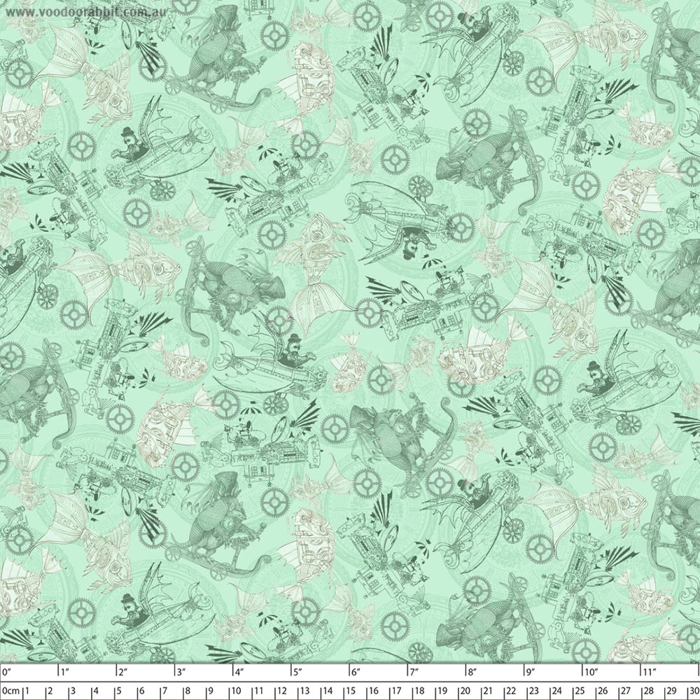 Fantasy & Fiction Steampunk Toile Mint by Quilting Treasures