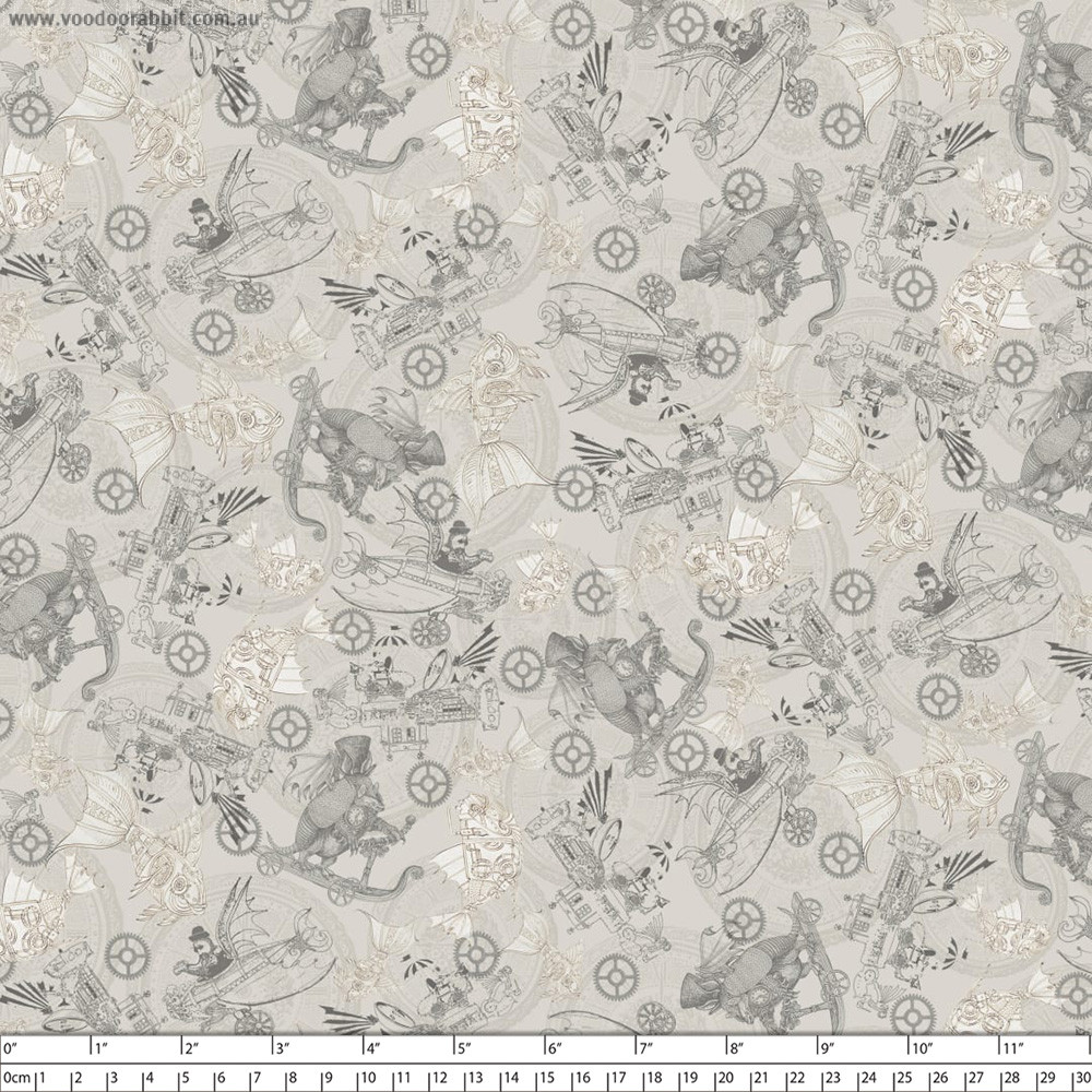 Fantasy & Fiction Steampunk Toile Grey by Quilting Treasures
