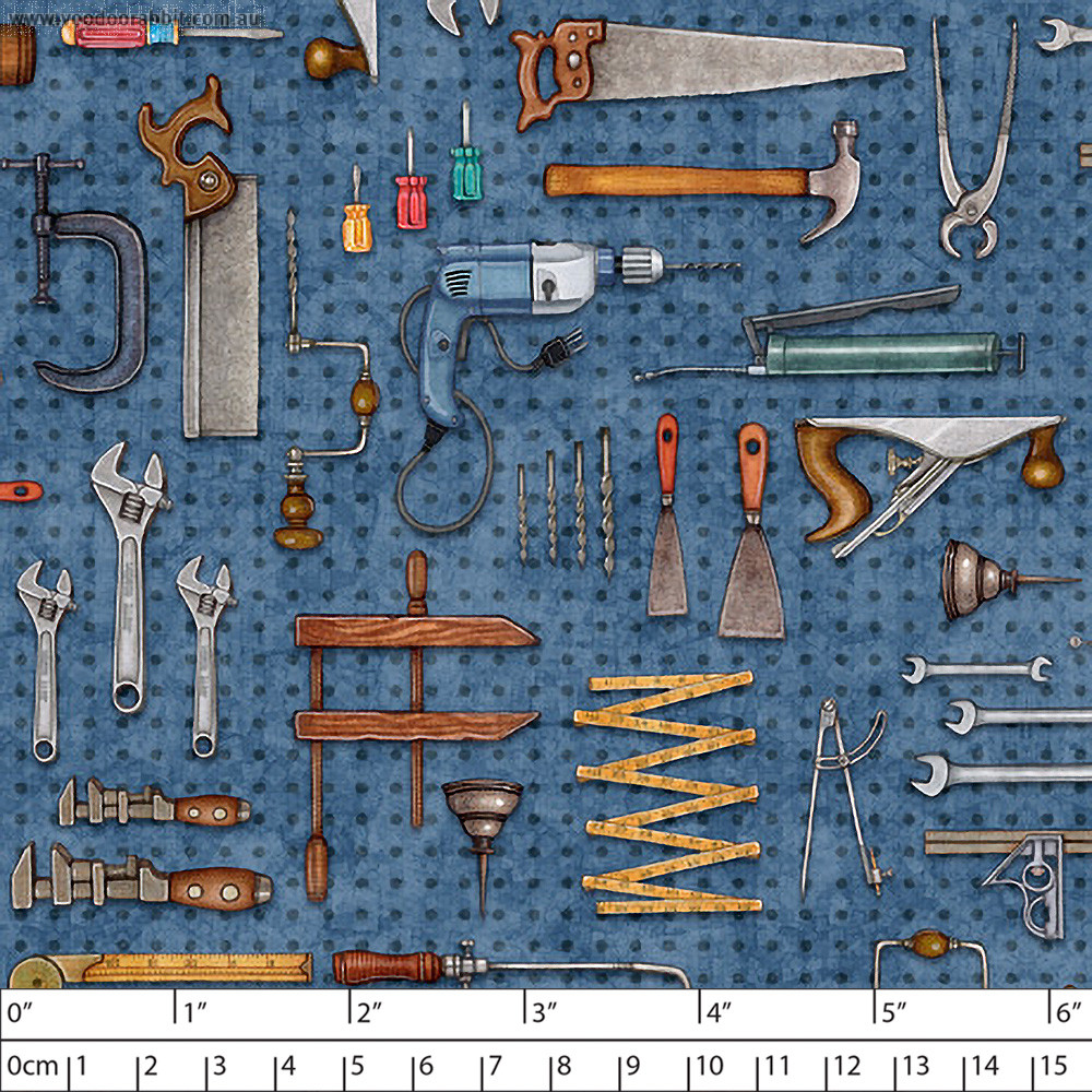 A Little Handy Tool Pegboard Blue by Quilting Treasures