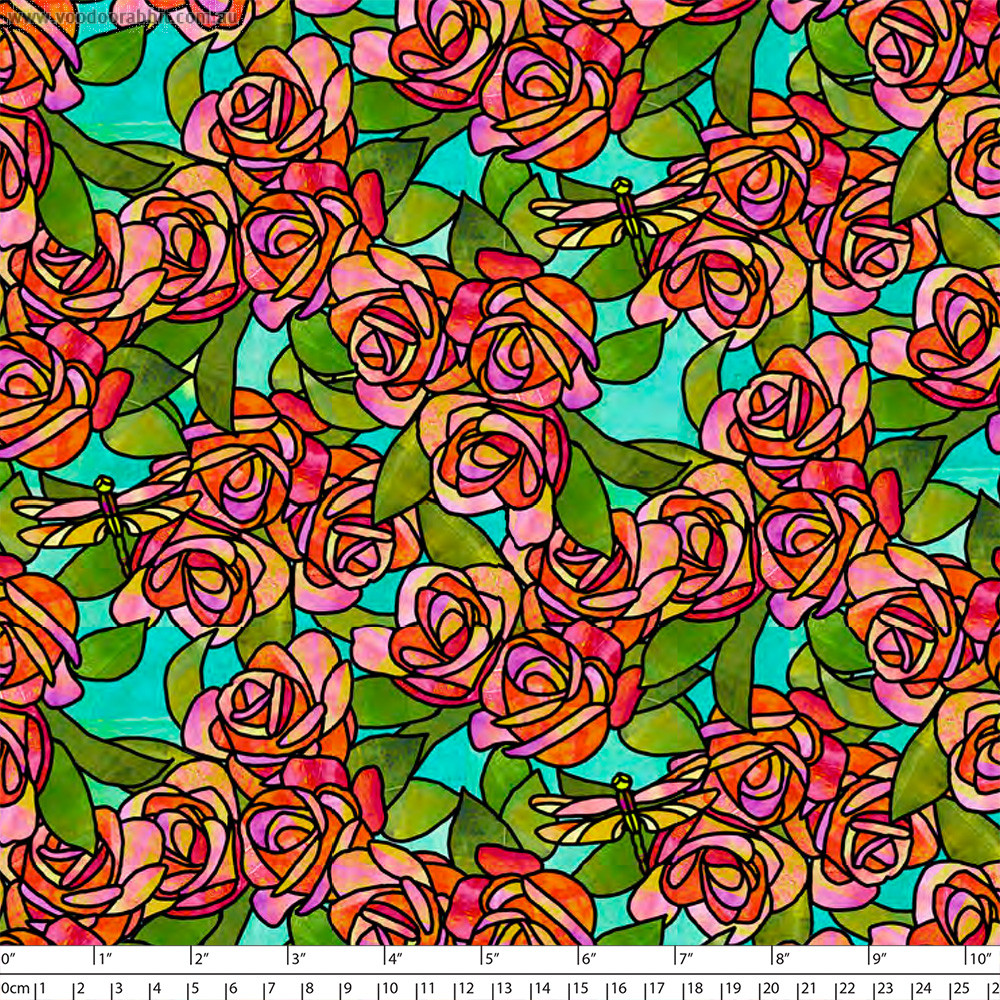 Stained Glass Garden Roses Aqua by Quilting Treasures