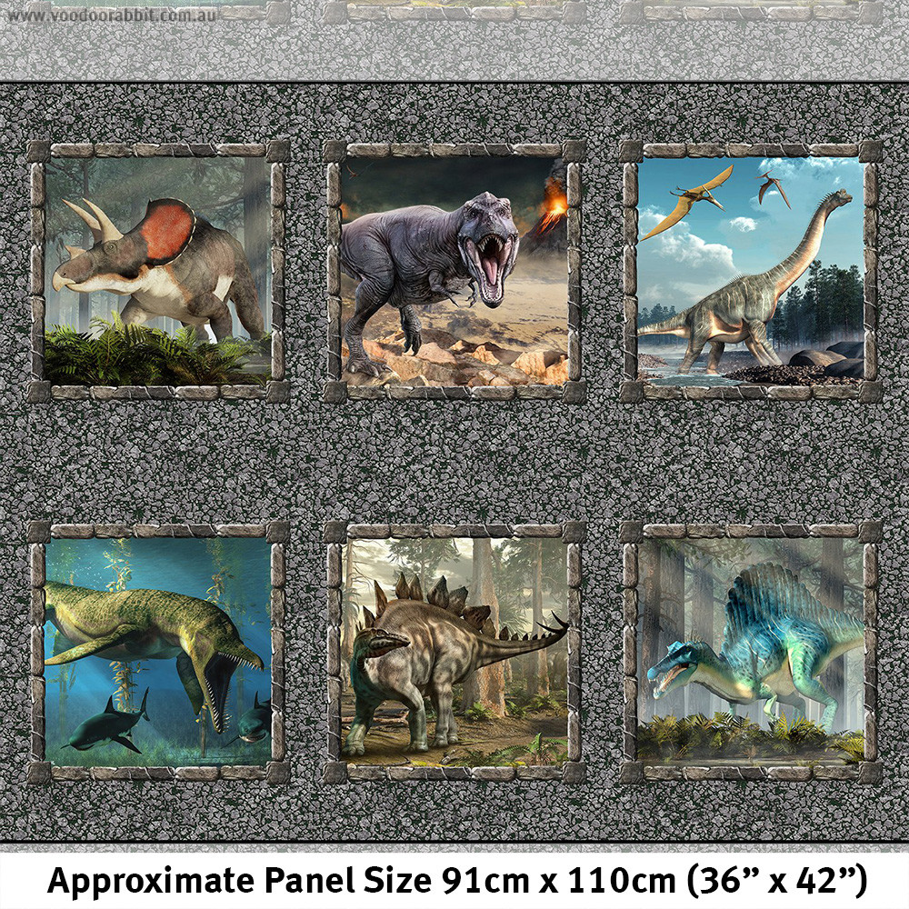 """Jurassic Dinosaurs Patch Fabric Panel 36"""" Multi by In the Beginning Fabric"""
