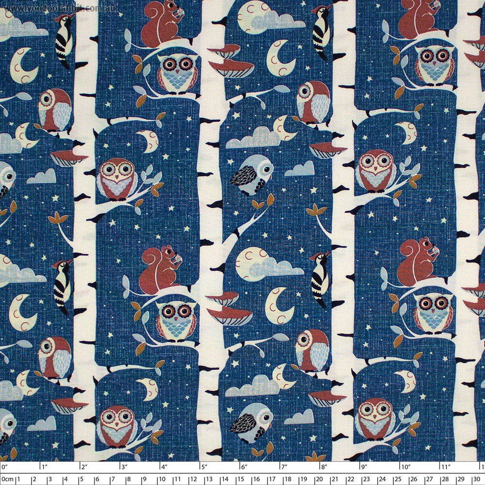 Hush-a-Bye Woods Trees Blue by Stof Fabrics