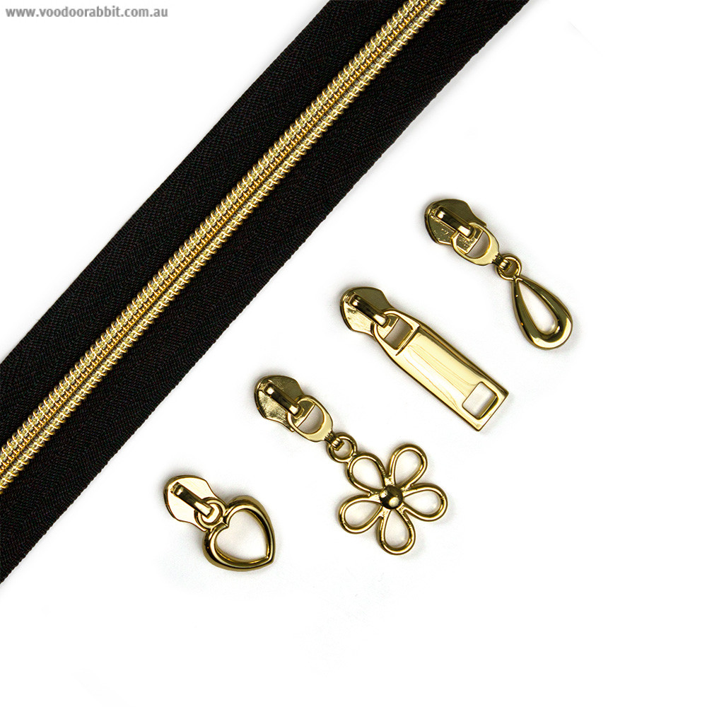"""Voodoo Bag Hardware (Size #5) Handbag Zipper Black Tape with Gold Teeth 3m (157"""") with 12 pulls - Mix Pack"""