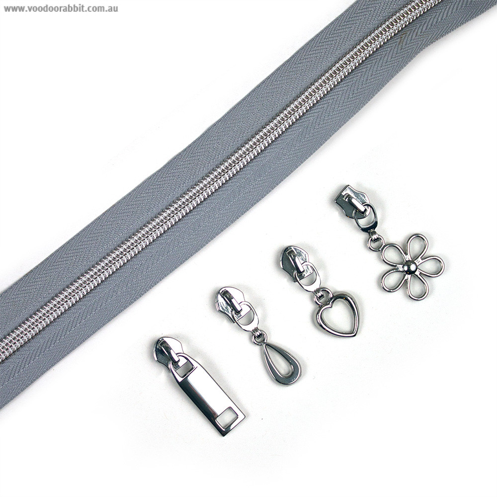 """Voodoo Bag Hardware (Size #5) Handbag Zipper Grey Tape with Silver Teeth 3m (157"""") with 12 pulls - Mix Pack"""