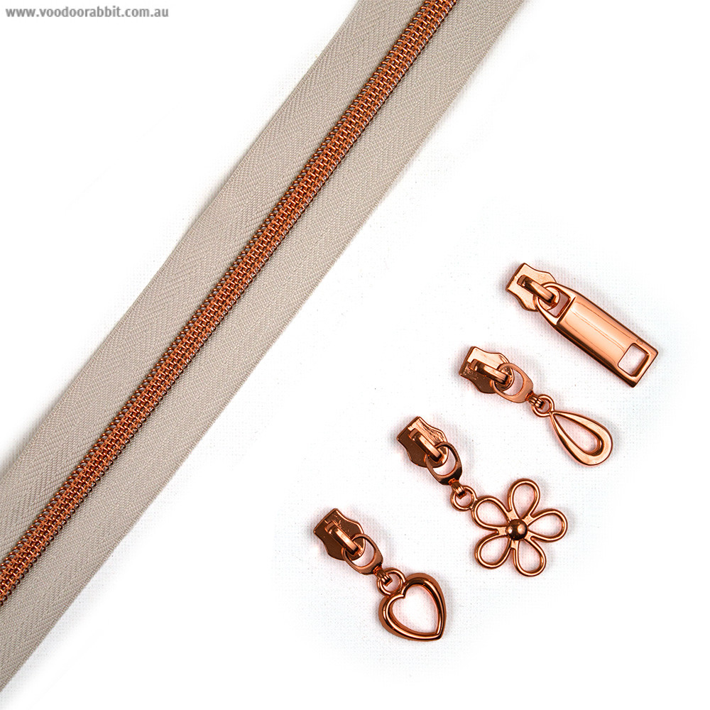 "Voodoo Bag Hardware (Size #5) Handbag Zipper Natural Tape with Copper Teeth 3m (157"") with 12 pulls - Mix Pack"