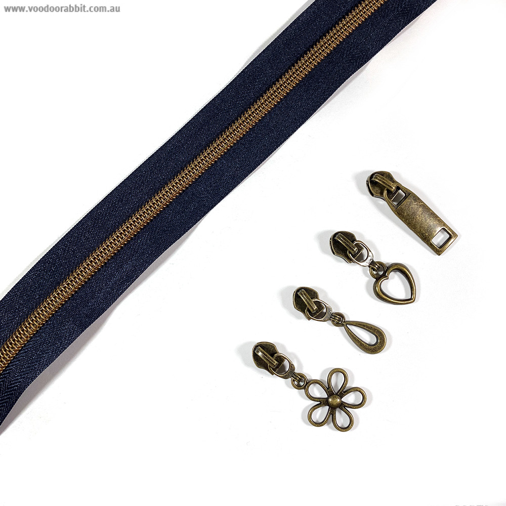 "Voodoo Bag Hardware (Size #5) Handbag Zipper Navy Tape with Antique Brass Teeth 3m (157"") with 12 pulls - Mix Pack"
