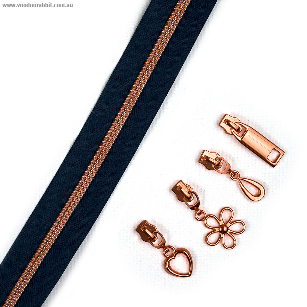 """Voodoo Bag Hardware (Size #5) Handbag Zipper Navy Blue Tape with Copper Teeth 3m (157"""") with 12 pulls - Mix Pack"""