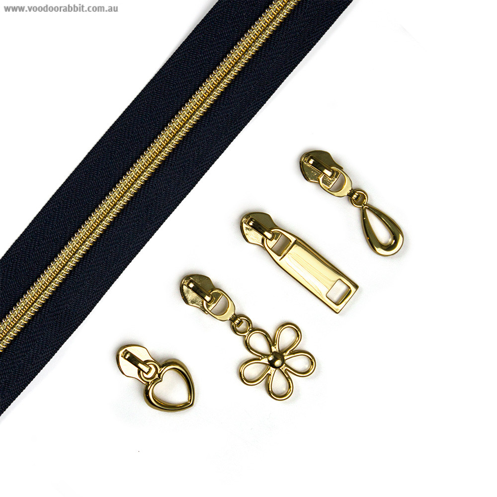 """Voodoo Bag Hardware (Size #5) Handbag Zipper Navy Blue Tape with Gold Teeth 3m (157"""") with 12 pulls - Mix Pack"""