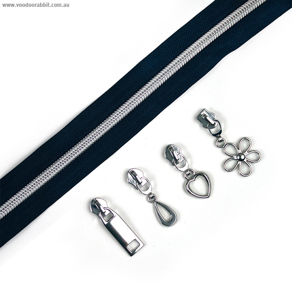 "Voodoo Bag Hardware (Size #5) Handbag Zipper Navy Blue Tape with Silver Teeth 3m (157"") with 12 pulls - Mix Pack"