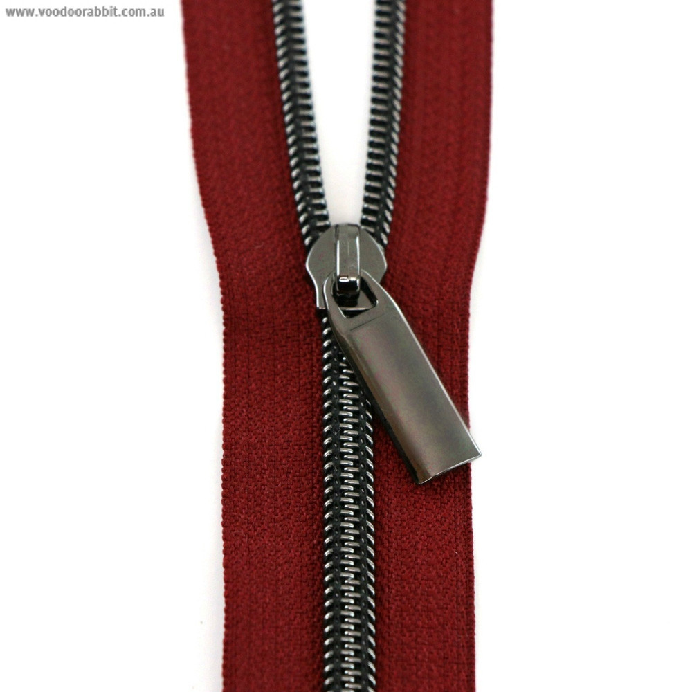 Sallie Tomato (Size #5) Zippers by the Yard Burgundy Red Tape Gunmetal Black Teeth - 3yd (2.74m)