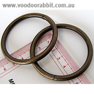 "Voodoo Bag Hardware Wire O-Ring 50mm (2"") Antique - 4pk"