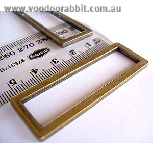 "Voodoo Bag Hardware Flat Alloy Oblong (Rectangular) Rings 50mm (2"") Antique - 2 pk"