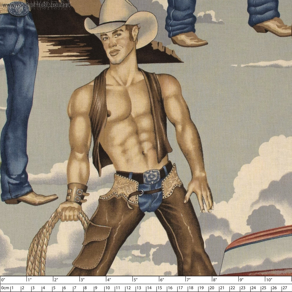 Wranglers (Shirtless Cowboys)Vintage by Alexander Henry Fabric