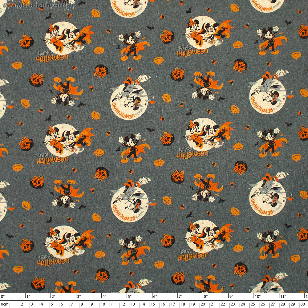 Disney Mickey and Minnie Mouse Bewitching Halloween Grey by Camelot Fabrics