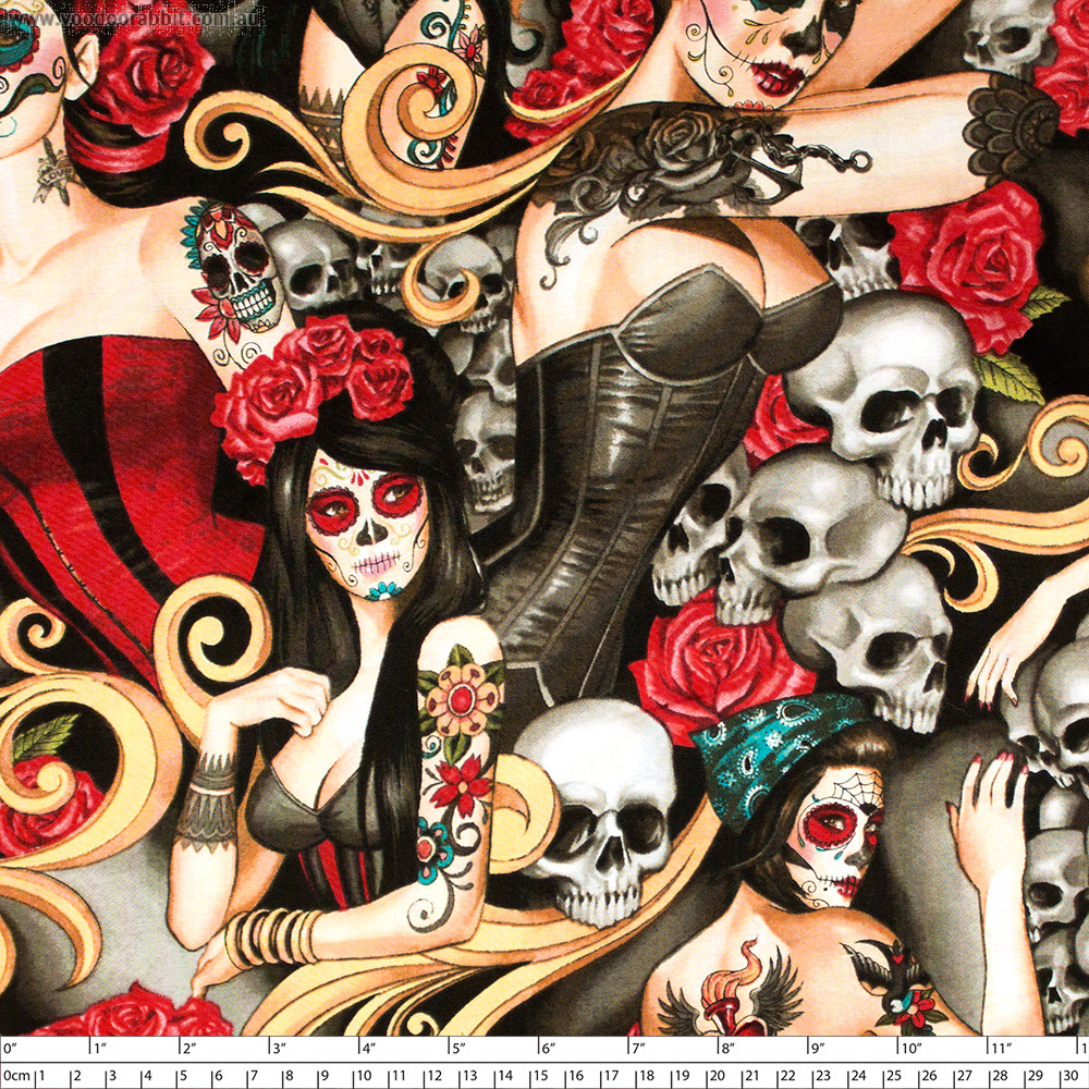 Las Elegantes (Day of the Dead Pinups) Bright Smoke by Alexander Henry