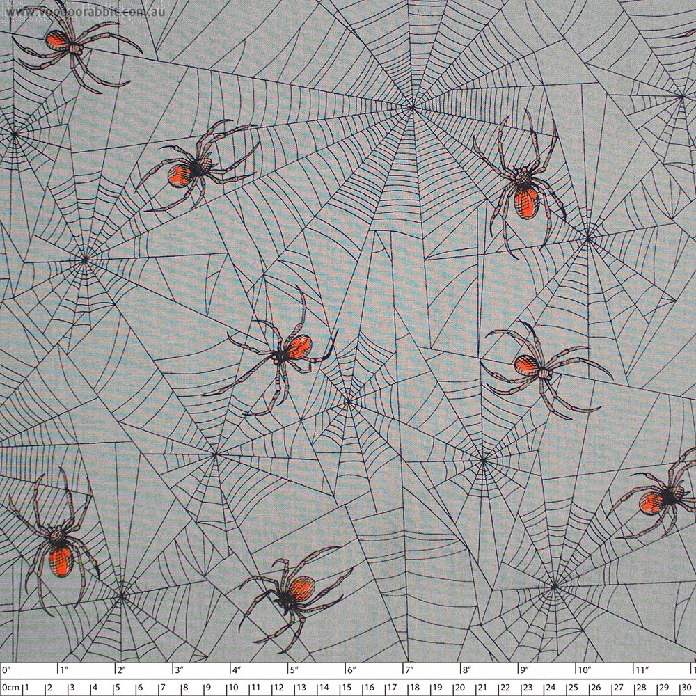 Tangled Web (Redback Spider) Charcoal by Alexander Henry Fabric