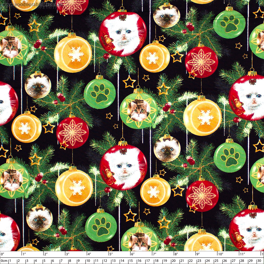 Fireside Kittens Ornaments Black by Henry Glass Fabrics