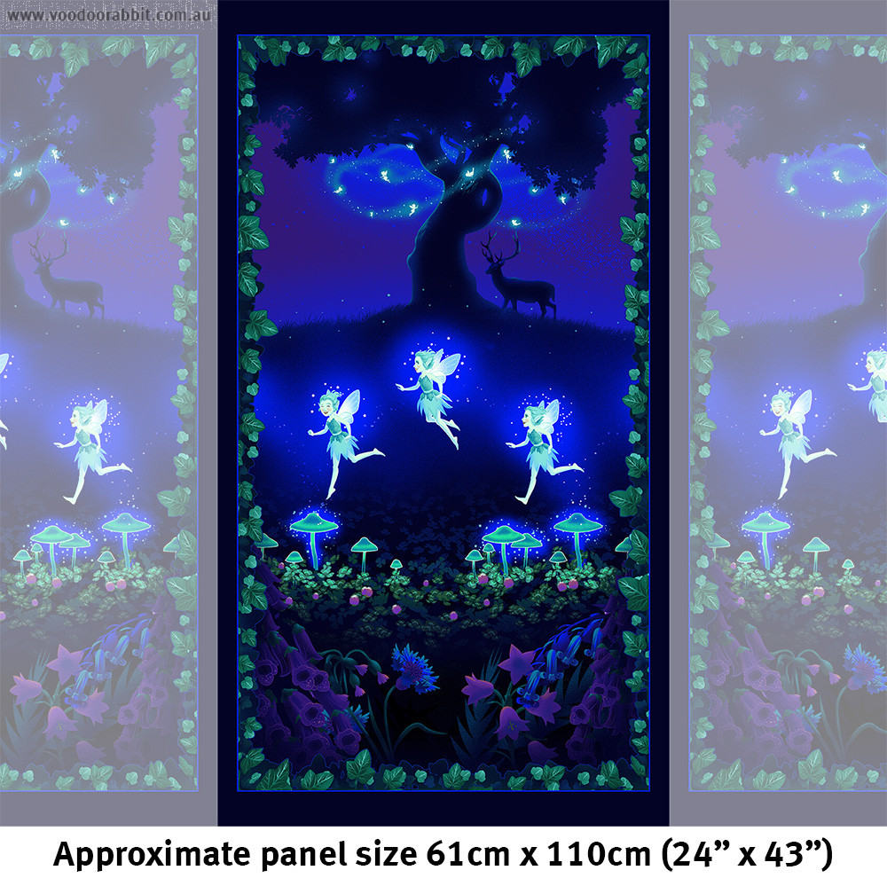 """Summer Night Soiree Glow-in-the-Dark Fairies on the Meadow 61cm (24"""") Fabric Panel Multi by Henry Glass Fabrics"""