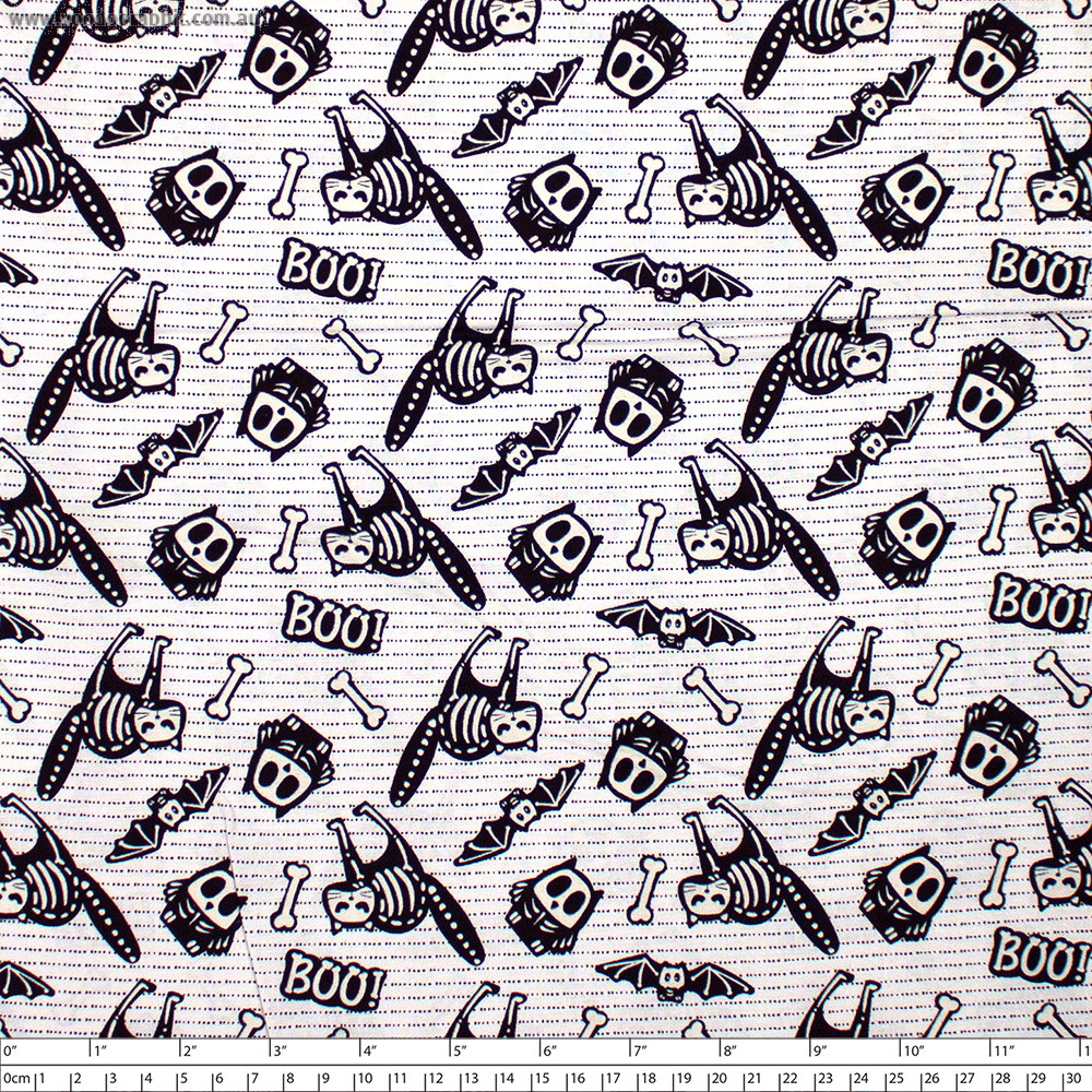 Glow Ghosts Glow in the Dark Animal Skeletons White by Henry Glass Fabrics