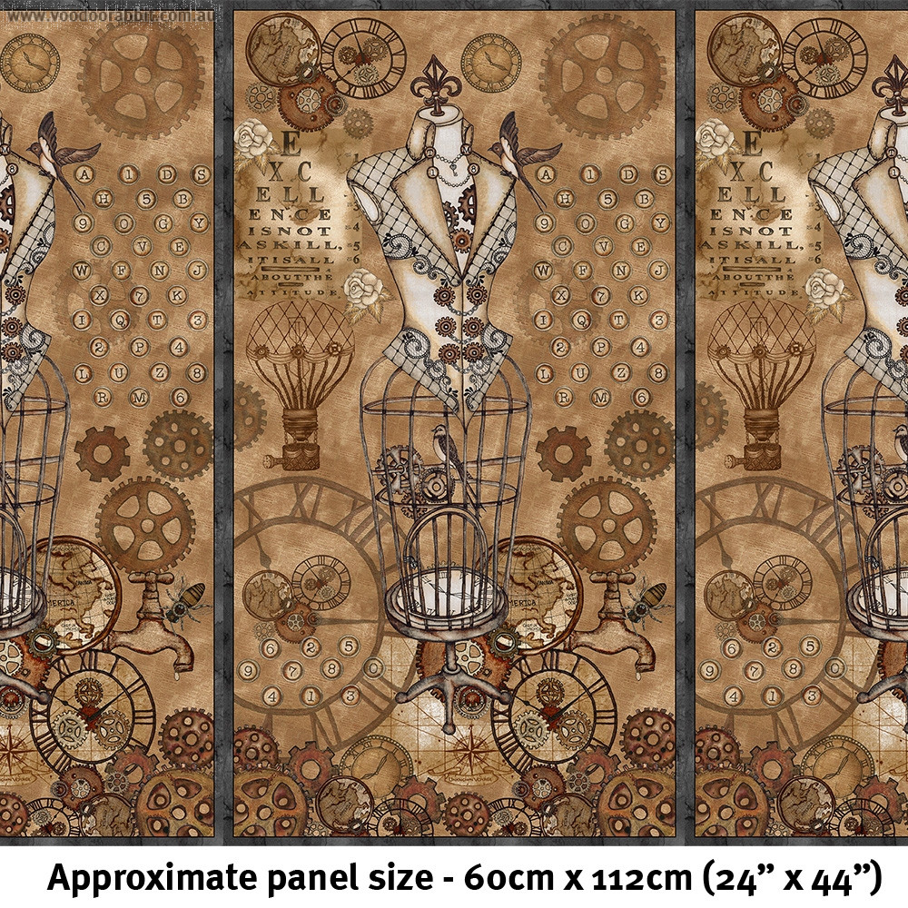 """Unknown Voyage 60cm (24"""") Fabric Panel Chestnut by Blank Quilting"""