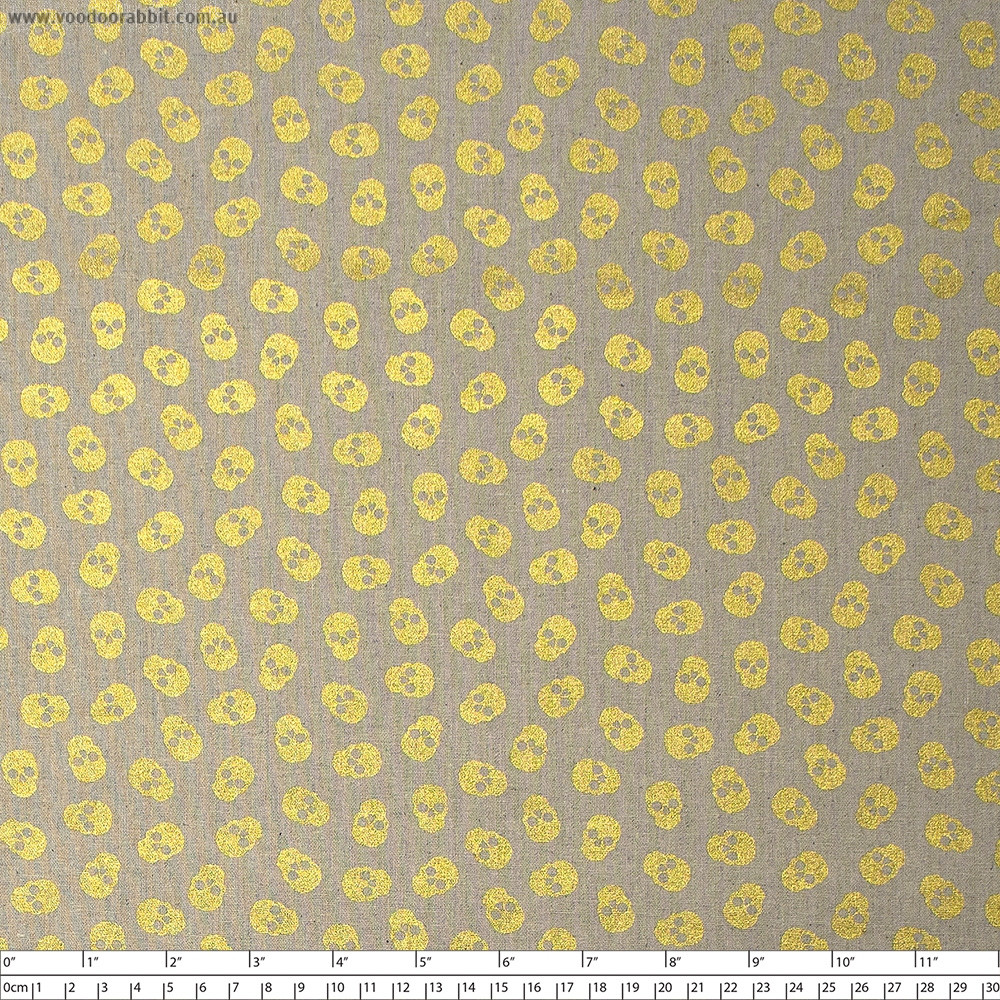 Mix Tape Skulls Gold/Natural Cotton/Linen by Andover Fabric