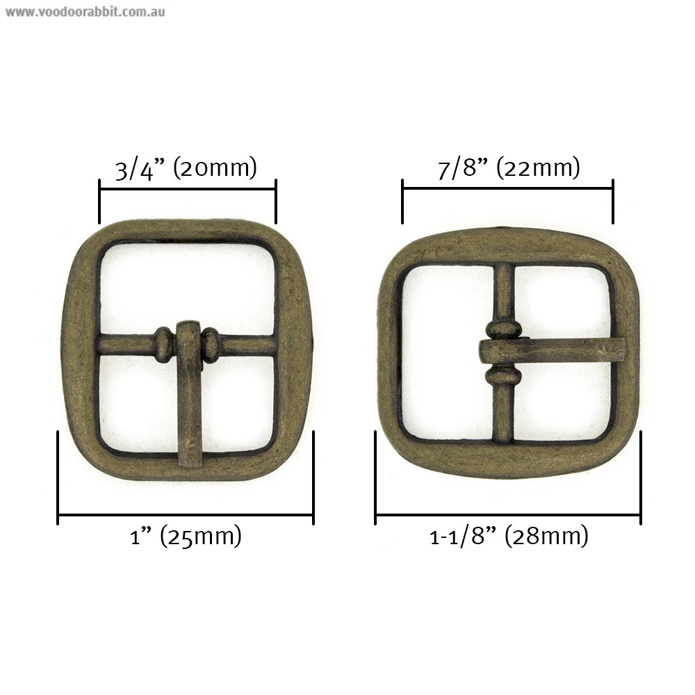 "Buckle w/ Center Bar 20mm (3/4"") Antique Brass - 4pk"