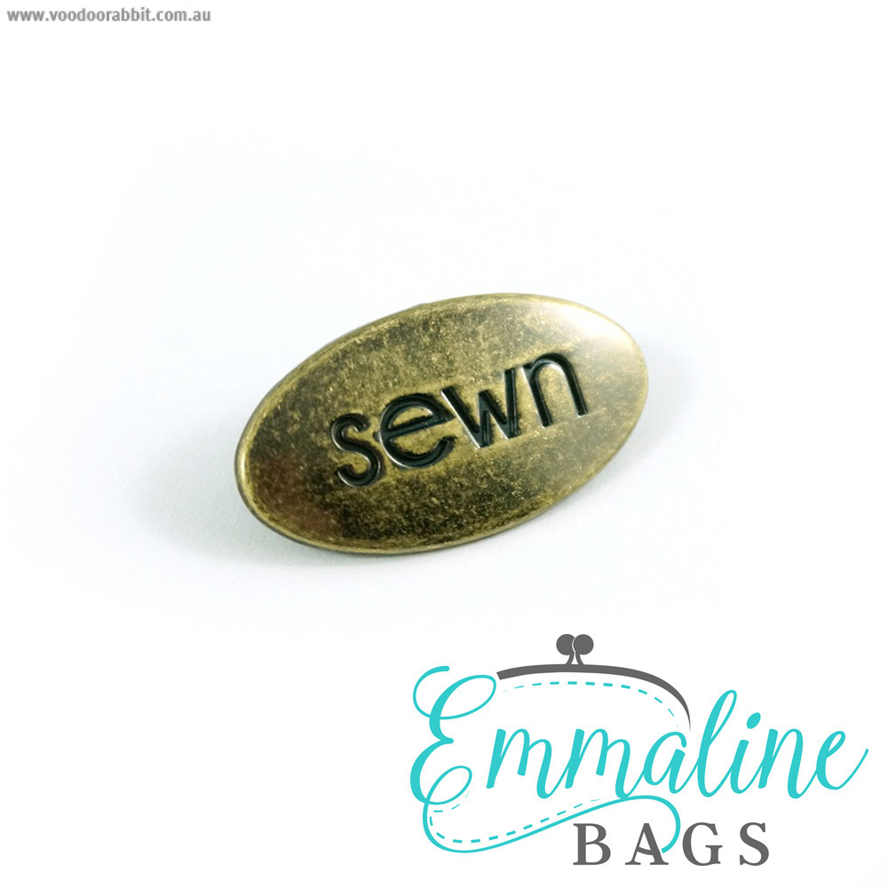 "Emmaline Bags Metal Bag Label: ""Sewn"" Antique Brass"