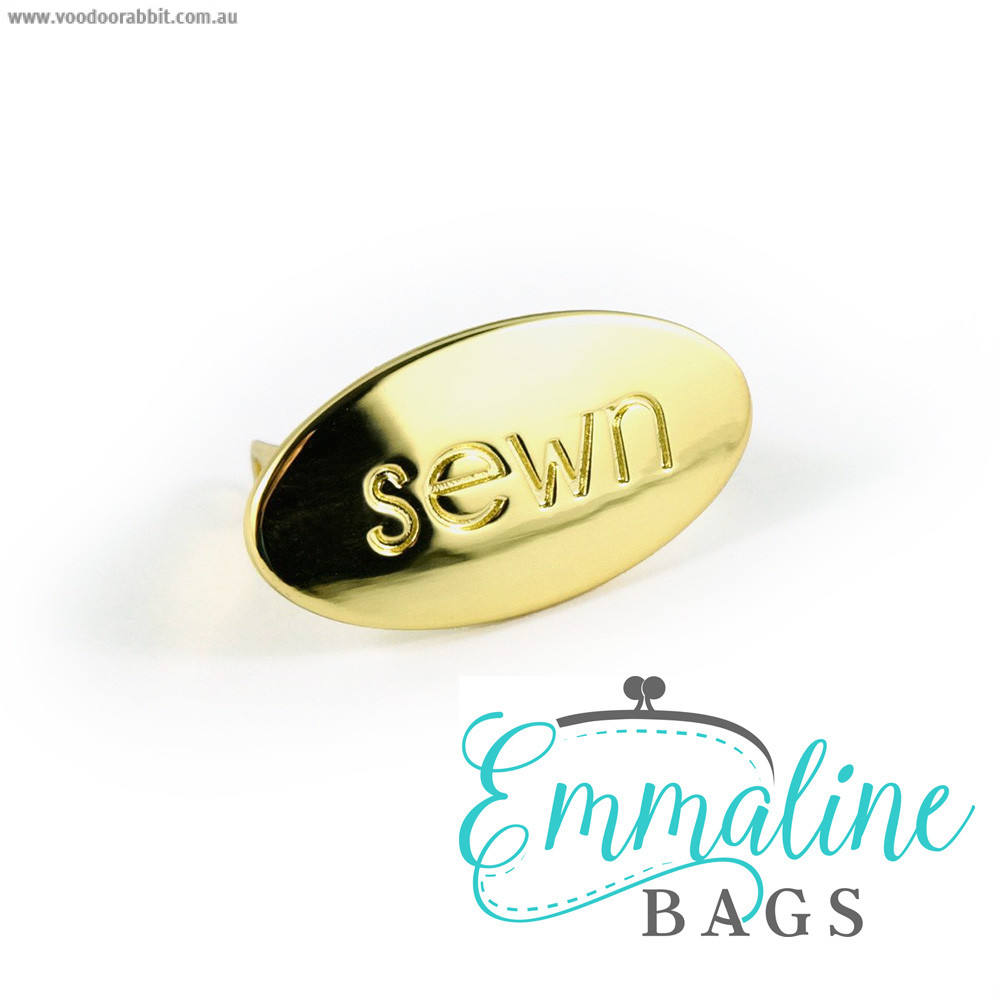 "Emmaline Bags Metal Bag Label: ""Sewn"" Gold"