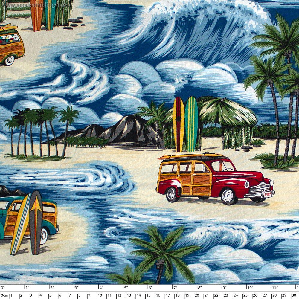 Classic Car Beach Blue by Hoffman Fabric