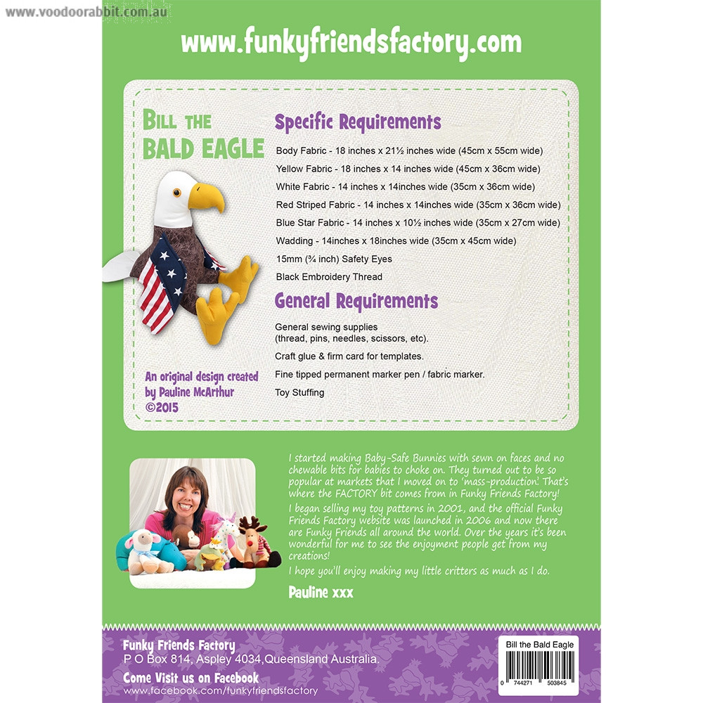Bill The Bald Eagle Soft Toy Sewing Pattern by Funky Friends Factory