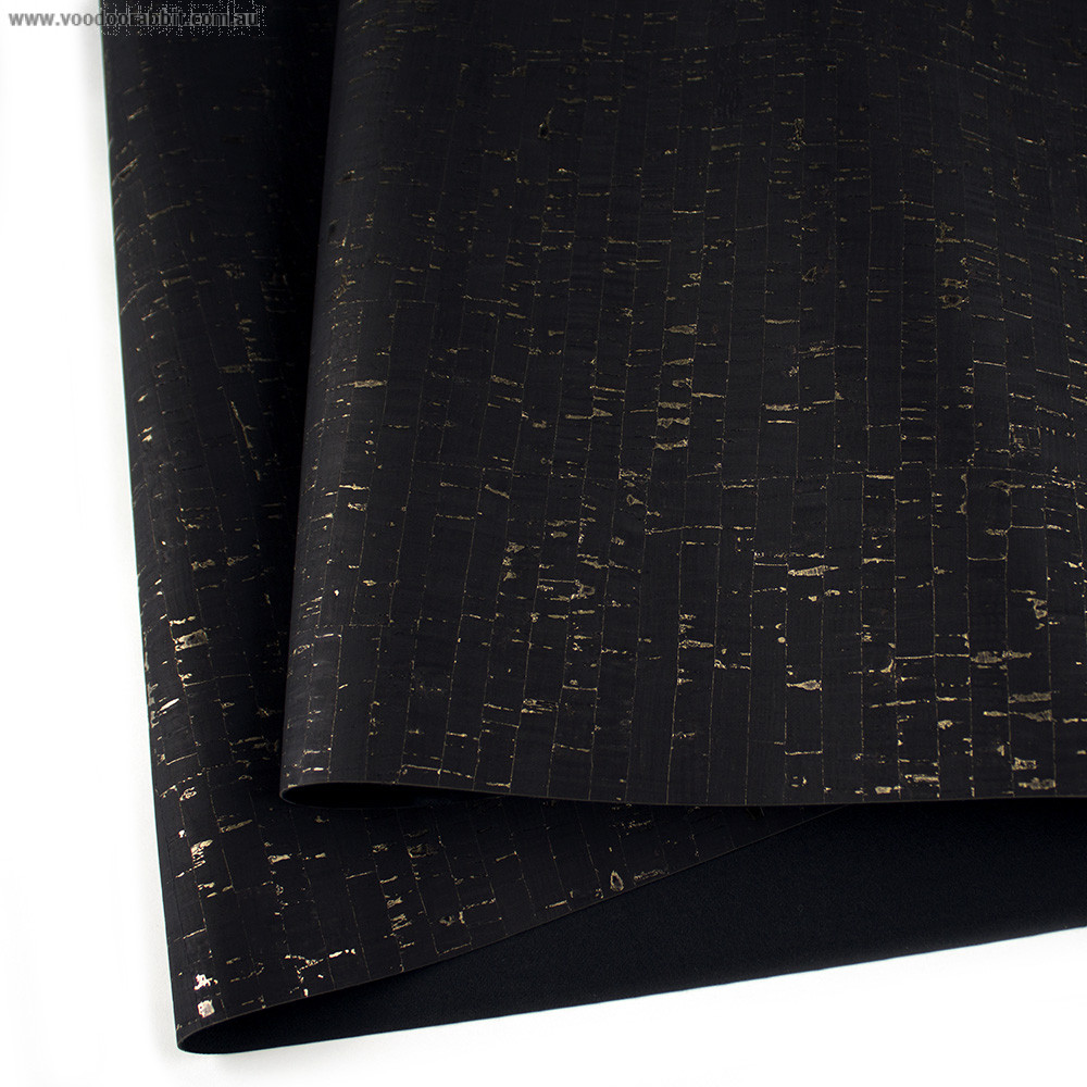 """Portuguese Natural Cork BLACK with Gold Flecks - Sizing from 70cm x 50cm (27-1/2"""" x 19-1/2"""")"""